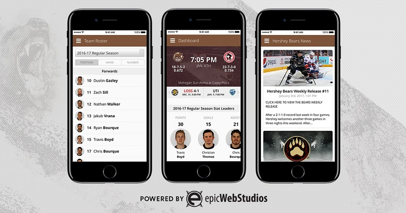 Hershey Bears Partner With Epic Web Studios for New Mobile App