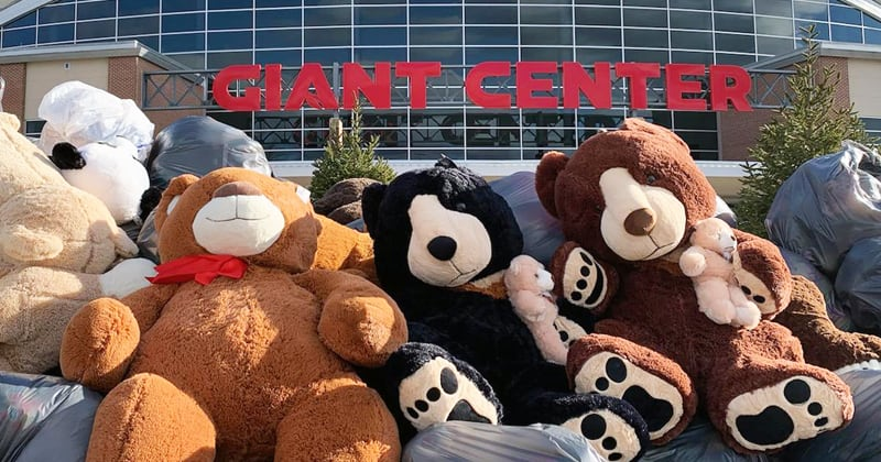 GIANT Drive-Thru Teddy Bear Toss Collects 31,381 Stuffed Animals