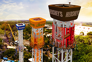 The Hershey Triple Tower - Kisses Tower - Opening 2017 in action at Hersheypark