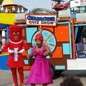 Twizzler character acting in a Character quiz show in Hersheypark