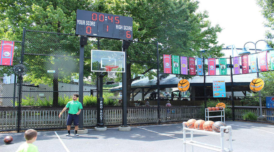 Players take 4 shots around the basketball court