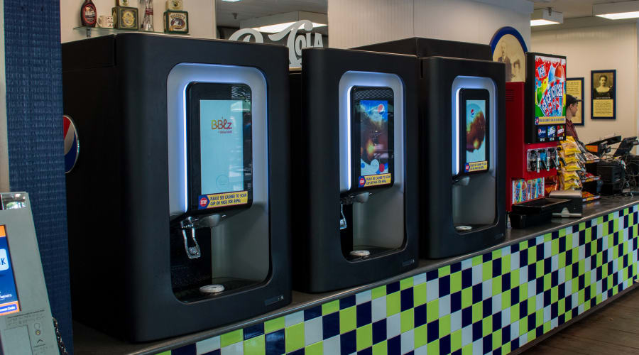 3 Pepsi drink dispensing machines with digital touch screens