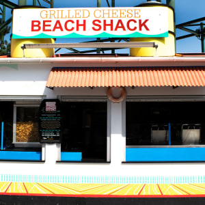 Beach Shack food stand with line of people in front of it