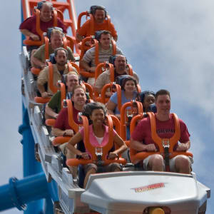 People riding Fahrenheit Rollercoaster