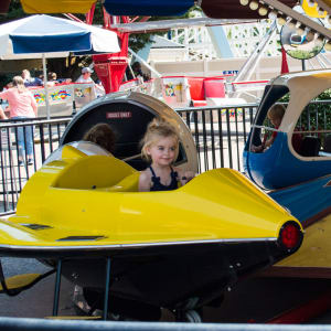 Child riding Space Age Ride at Hersheypark
