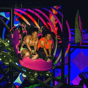 Two women on Laff Trakk Coaster at Hersheypark