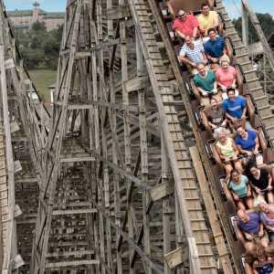 People on Lightning Racer Wooden Roller Coaster