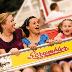 Mom and Daughters on Scrambler Ride at Hersheypark