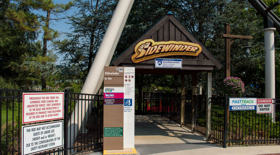 Sidewinder Rollercoaster sign at Hersheypark