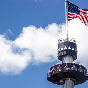 Kissing Tower with American Flag on the top